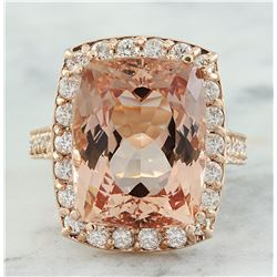 14.90 CTW Morganite 18K Rose Gold Diamond Ring