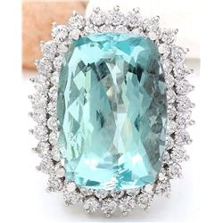 26.70 CTW Natural Aquamarine 18K Solid White Gold Diamond Ring