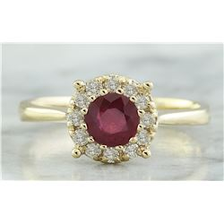 0.72 CTW Ruby 14K Yellow Gold Diamond Ring