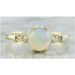 1.08 CTW Opal 18K Yellow Gold Diamond Ring