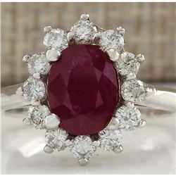 2.81 CTW Natural Red Ruby And Diamond Ring 14K Solid White Gold
