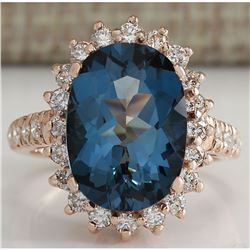 8.34 CTW Natural London Blue Topaz And Diamond Ring In 18K Solid Rose Gold