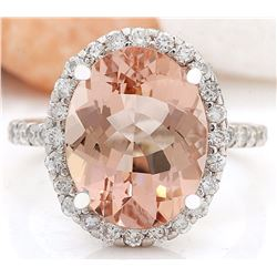 6.57 CTW Natural Morganite 18K Solid White Gold Diamond Ring