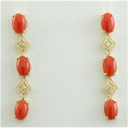 2.65 CTW Coral 18K Yellow Gold Diamond Earrings