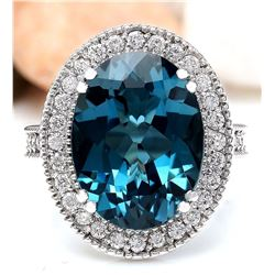 11.91 CTW Natural Topaz 18K Solid White Gold Diamond Ring