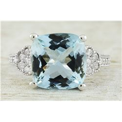 6.45 CTW Aquamarine 18K White Gold Diamond Ring