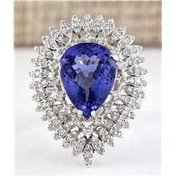 7.59 CTW Natural Blue Tanzanite And Diamond Ring 18K Solid White Gold