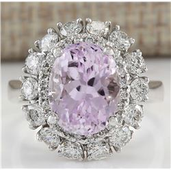 6.20 CTW Natural Kunzite And Diamond Ring 18K Solid White Gold