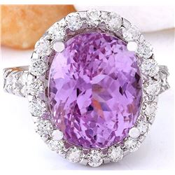 16.16 CTW Natural Kunzite 14K Solid White Gold Diamond Ring