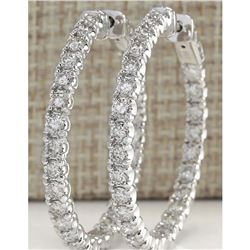 4.86 CTW Natural Diamond Hoop Earrings 18K Solid White Gold