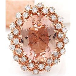 9.80 CTW Natural Morganite 18K Solid Rose Gold Diamond Ring