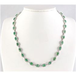 28.20 CTW Natural Emerald And Diamond Necklace In 18K White Gold