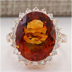 13.49 CTW Natural Madeira Citrine And Diamond Ring 18K Solid Rose Gold