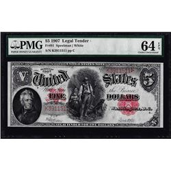 1907 $5 Woodchopper Legal Tender Note Fr.91 PMG Choice Uncirculated 64EPQ
