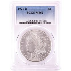 1921-D $1 Morgan Silver Dollar Coin PCGS MS62