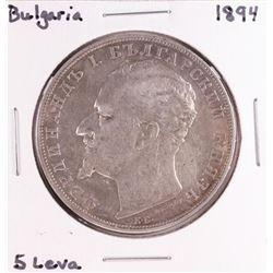 1894 Bulgaria 5 Leva Silver Coin