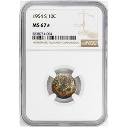 1954-S Roosevelt Dime Coin NGC MS67* Star Amazing Toning