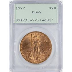 1922 $20 St. Gaudens Double Eagle Gold Coin PCGS MS62 Green Rattler Holder