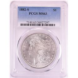 1882-S $1 Morgan Silver Dollar Coin PCGS MS63