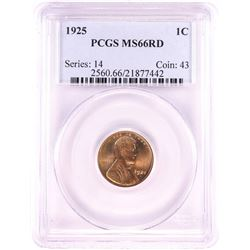 1925 Lincoln Wheat Cent Coin PCGS MS66RD