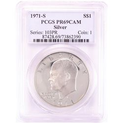 1971-S $1 Proof Eisenhower Silver Dollar Coin PCGS PR69CAM