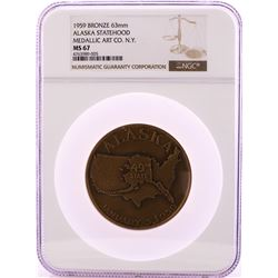 1959 Alaska Statehood Medallic Art Co. N.Y Bronze 63mm Medal NGC MS67