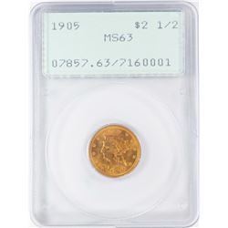 1905 $2 1/2 Liberty Head Quarter Eagle Gold Coin PCGS MS63 Old Green Rattler