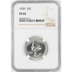 1939 Proof Washington Quarter Coin NGC PF65