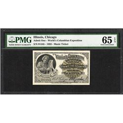 1893 World's Columbian Exposition Ticket Handel PMG Gem Uncirculated 65EPQ