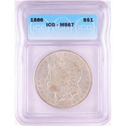 1886 $1 Morgan Silver Dollar Coin ICG MS67