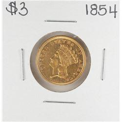 1854 $3 Indian Princess Head Gold Dollar Coin
