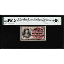 1863 Fourth Issue Ten Cent Fractional Currency Note Fr.1257 PMG Gem Uncirculated 65EPQ