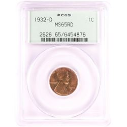 1932-D Lincoln Wheat Cent Coin PCGS MS65RD Old Green Holder
