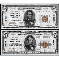 Lot of (2) 1929 $5 First NB in Oakland, Maryland CH# 5623 National Currency Notes