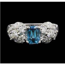 18KT White Gold 1.80 ctw Blue Zircon and Diamond Ring