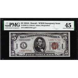 1934A $5 Hawaii WWII Emergency Silver Certificate Note PMG Choice Extremely Fine 45