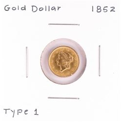 1852 $1 Type 1 Liberty Head Gold Coin