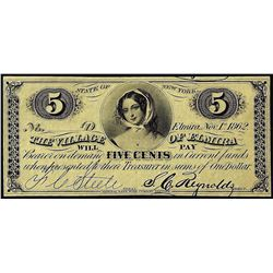 November 1, 1862 Five Cents Village of Elmira State of New York Obsolete Note