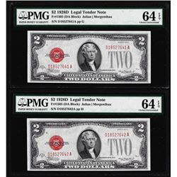 Lot of (2) Consecutive 1928D $2 Legal Tender Notes Fr.1505 PMG Choice Uncirculated 64EPQ