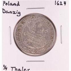 1624 Poland Danzig 1/4 Thaler Silver Coin