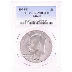 1974-S $1 Proof Eisenhower Silver Dollar Coin PCGS PR69DCAM