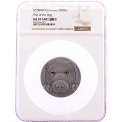 2018MW Cameroon 300 Francs Year of the Dog Silver Coin NGC MS70 Antiqued