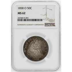 1858-O Seated Liberty Half Dollar Coin NGC MS62