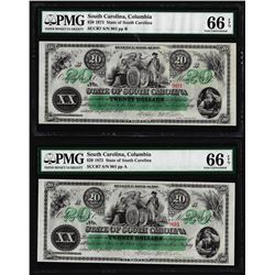 Matching Low Serial 1872 $20 South Carolina Obsolete Notes PMG Gem Uncirculated 66EPQ