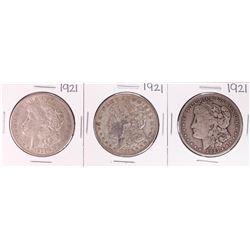 Lot of (3) 1921 $1 Morgan Silver Dollar Coins