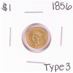 1856 Type 3 $1 Liberty Head Gold Dollar Coin
