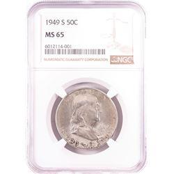 1949-S Franklin Half Dollar Coin NGC MS65