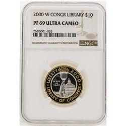 2000-W $10 Library of Congress Bimetallic Coin NGC PF69 Ultra Cameo