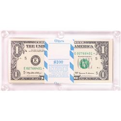 Pack of (100) 1999 $1 Federal Reserve STAR Notes Richmond in Capital Holder