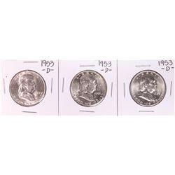 Lot of (3) 1953-D Franklin Half Dollar Coins